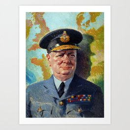 Winston Churchill In Uniform Art Print