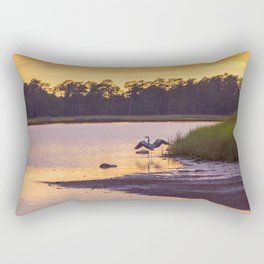 Heron on the River at Sunset Rectangular Pillow