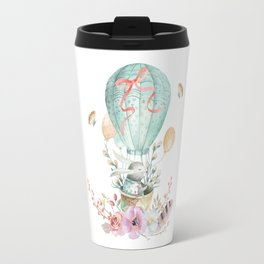 Whimsical Bunny in a Balloon Watercolor Design Travel Mug
