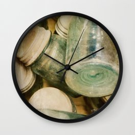 Aqua Mason Jars Wall Clock