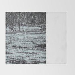 Silver Swan Swimming Monochrome Landscape Throw Blanket