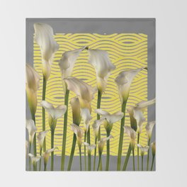 Grey & Yellow Pattern Calla Lilies Art Throw Blanket