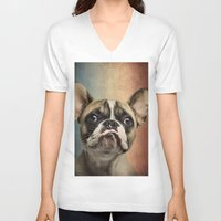 french V-neck T-shirts featuring French bulldog, french flag ! by Life on White Creative