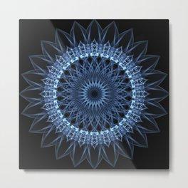 Flowery mandala in blue colors Metal Print