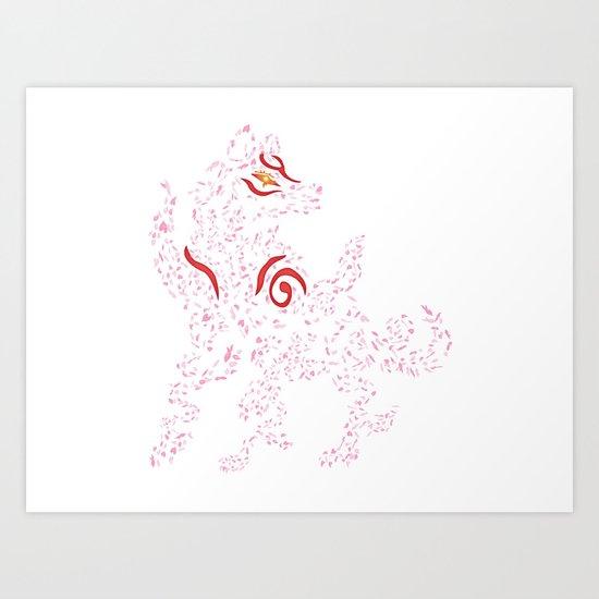Okami Amaterasu - Cherry Blossom Form [WHITE] Art Print