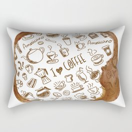 Inside an imprint of Coffee - I love Coffee Rectangular Pillow