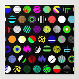 Eclectic Circles - Abstract collage of random, colourful, bold, eclectic circles Canvas Print