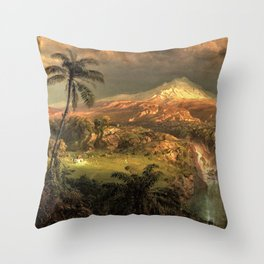 Passing Shower in the Tropics by Frederic Edwin Church Throw Pillow