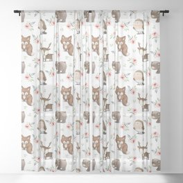 Woodland Animals With Watercolor Flowers Sheer Curtain
