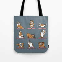 english bulldog Tote Bags featuring English Bulldog Yoga by Huebucket