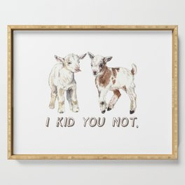 I Kid You Not: Baby Goat Watercolor Illustration Serving Tray