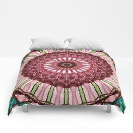 Mandala in red, light and dark green Comforters