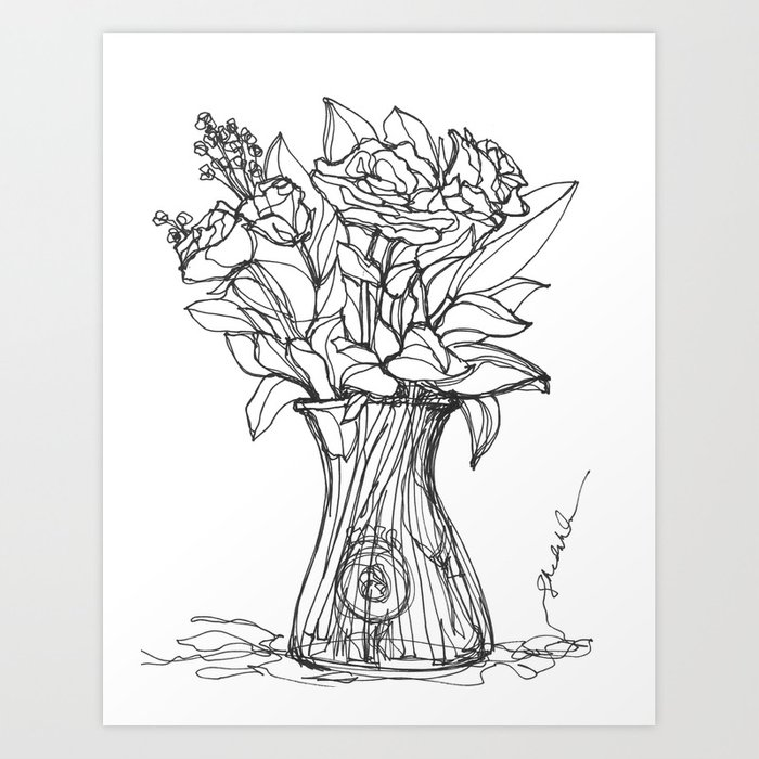 Flowers In A Vase Continuous Line Drawing Art Print By