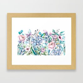 Blue and pink flowers, succulents. Watercolor hand drawing. Framed Art Print