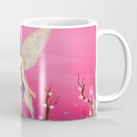 pixies Mugs featuring Pink Fairy by Kelly Katastrophe