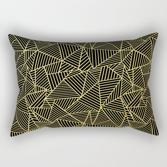 Ab 2 R Black and Gold Rectangular Pillow