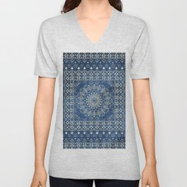 Old Bookshop Magic Mandala in Blue Unisex V-Neck