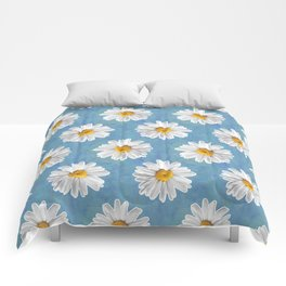 Daisy Blues - Daisy Pattern on Cornflower Blue Comforters