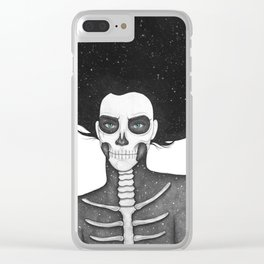 Black and White Galaxy Skull Girl Clear iPhone Case
