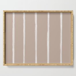 Skinny Strokes Gapped Vertical Off White on Nude Serving Tray