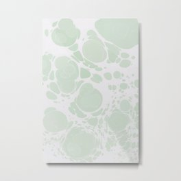 Ebru Paper Marbling Pastel Green Paint Spill Bubbles Metal Print