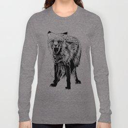 Angry Fox (b&w) Long Sleeve T-shirt