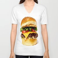 burger V-neck T-shirts featuring Burger by Owl Things