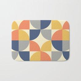 Mid Century Modern Geometric Pattern 445 Blue Yellow Orange Gray and Beige Bath Mat