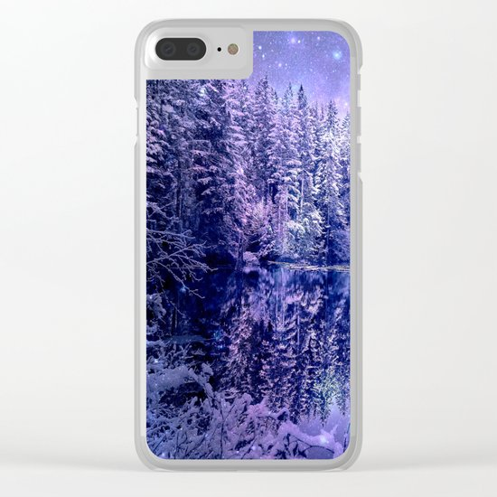 Lavender Winter Wonderland : A Cold Winter's Night Clear iPhone Case