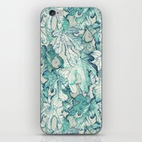 fig iPhone & iPod Skins featuring Fig Leaf Fancy - a pattern in teal and grey by micklyn
