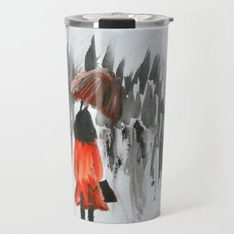 The Girl In The Red Rain Coat (Part 3)  Fine Art Acrylic Painting Travel Mug