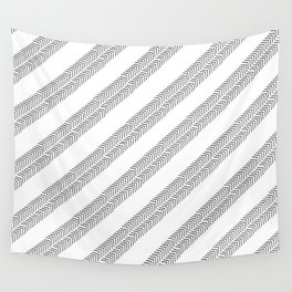 Black white watercolor hand painted geometrical chevron zigzag Wall Tapestry