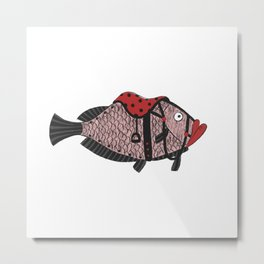 Riding Fish Metal Print