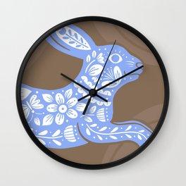 Chasing Rabbits - Blue & Brown Wall Clock