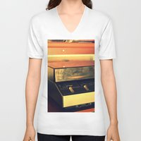 record V-neck T-shirts featuring record player by gzm_guvenc