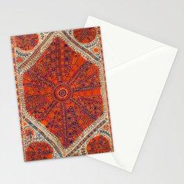 Orange Wildflower Sunshine II // 18th Century Colorful Rusty Red Bright Blue Metallic Happy Pattern Stationery Cards