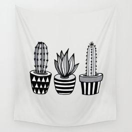 Cactus Plant monochrome cacti nature greyscale illustration floral succulent leaf home wall decor Wall Tapestry