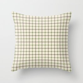Fern Green & Sludge Grey Tattersall on Cream Background Throw Pillow