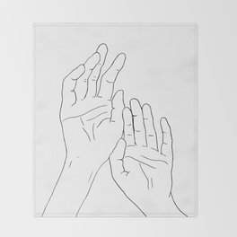 Hands minimal line drawing Throw Blanket