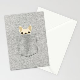 Pocket French Bulldog - Cream Stationery Cards