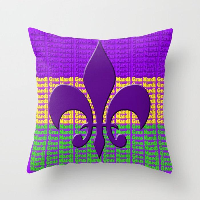 Mardi Gras Tri Color With Fleur De Lis Throw Pillow By