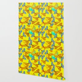 Butterflies - turquoise wings - yellow background #Society6 #buyart Wallpaper