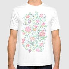 Pixel Flowers Mens Fitted Tee MEDIUM White