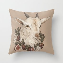 Goat and Figs Throw Pillow