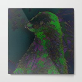 Glow in the Dark Otter Metal Print