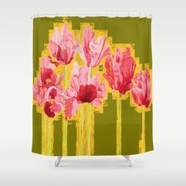 PINK-RED MODERN TULIP FLOWERS KHAKI GREEN ART Shower Curtain