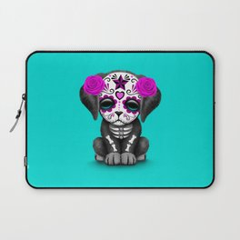 Cute Purple and Blue Day of the Dead Puppy Dog Laptop Sleeve