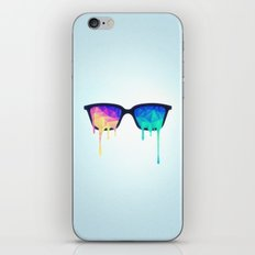 Psychedelic Nerd Glasses with Melting LSD/Trippy Color Triangles iPhone Skin