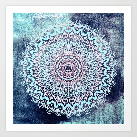 BLUE AUTUMN BOHO MANDALA Art Print