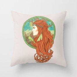 Red Hair Throw Pillow